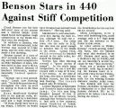 Benson Stars in 440 gainst Stiff Competition