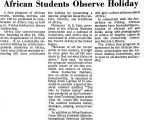African Students Observe Holiday