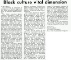 Letter: Black culture vital dimension