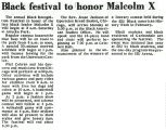 Black festival to honor Malcolm X