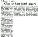 Class to host black actors
