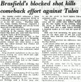 Brasfield's blocked shot kills comeback effort against Tulsa