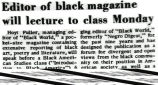 Editor of black magazine will lecture to class Monday