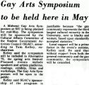 Gay Arts Symposium to be held here in May