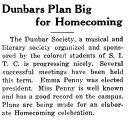 Dunbars Plan Big for Homecoming