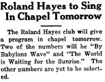 Roland Hayes to Sing In Chapel Tomorrow