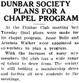 DUNBAR SOCIETY PLANS FOR A CHAPEL PROGRAM