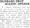 DUNBARS DROP SEASON OPENER