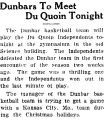 Dunbars To Meet Du Quoin Tonight