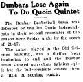 Dunbars Lose Again To Du Quoin Quintet