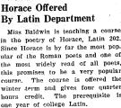 Horace Offered By Latin Department