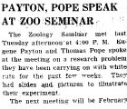 PAYTON, POPE SPEAK AT ZOO SEMINAR