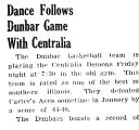 Dance Follows Dunbar Game With Centralia