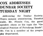 COX ADDRESSES DUNBAR SOCIETY TUESDAY NIGHT