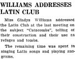 WILLIAMS ADDRESSES LATIN CLUB