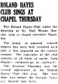 ROLAND HAYES CLUB SINGS AT CHAPEL THURSDAY