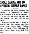 SIGMA GAMMA RHO TO SPONSOR SQUARE DANCE