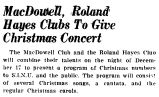 MacDowell, Roland Hayes Clubs To Give Christmas Concert