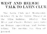 WEST AND HELWIG TALK TO LATIN CLUB