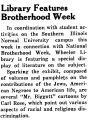 Library Features Brotherhood Week
