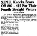 S.I.N.U. Knocks Bears Off 89 1/4-41 3/4 For Their Fourth Straight Victory
