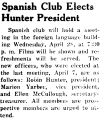 Spanish Club Elects Hunter President