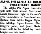 ALPHA PHI ALPHA TO HOLD SWEETHEART DANCE
