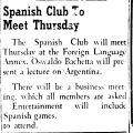 Spanish Club To Meet Thursday