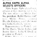 ALPHA KAPPA ALPHA. SELECTS OFFICERS