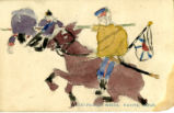 Child's drawing, cavalryman, Sanzo primary school, Nagoya