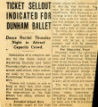Ticket Sellout Indicated for Dunham Ballet: Dance Recital Thursday Night to Attract Capacity Crowd