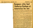 European Critics Laud Katherine Dunham act, immortalize her feet