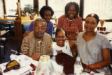 Amiri Baraka and four others at a restaurant
