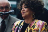 Cleo Laine at a microphone