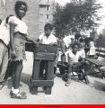 African American children playing outside