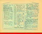 Chart of activities on Camp Paul Bunyan from a hand-written booklet