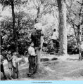 Boys with rope swing at Camp French