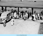 BCC station wagon meets campers at Waukegan Station ca. 1930