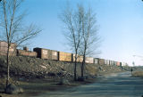 Freight train on raised embankment