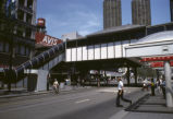 View of an Elevated Station over State Street at the Intersection with Lake Street.