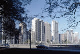 View of high-rise apartment buildings along North Lake Shore Drive