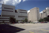 View of Northwestern University Memorial Hospital campus from Huron Street