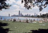 Sunbathers in Lincoln Park, and Near North Side skyline