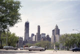 Michigan Avenue and Loop skyline from Grant Park