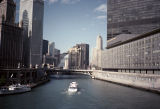 View along Chicago River towards Ryan Insurance (55 West Wacker) and Thompson Center