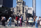 Pedestrians in front of Chicago Water Tower