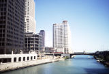 High-rise buildings along the Chicago River east of the Michigan Avenue bridge