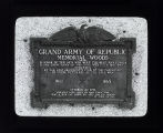 Memorial plaque for the Grand Army of the Republic Woods in River Forest. It was dedicated with this