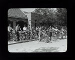 Group with bicycles at Thatcher Woods Forest Preserve, River Forest