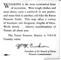 Cards with hints on how to walk in forest preserves, no date.